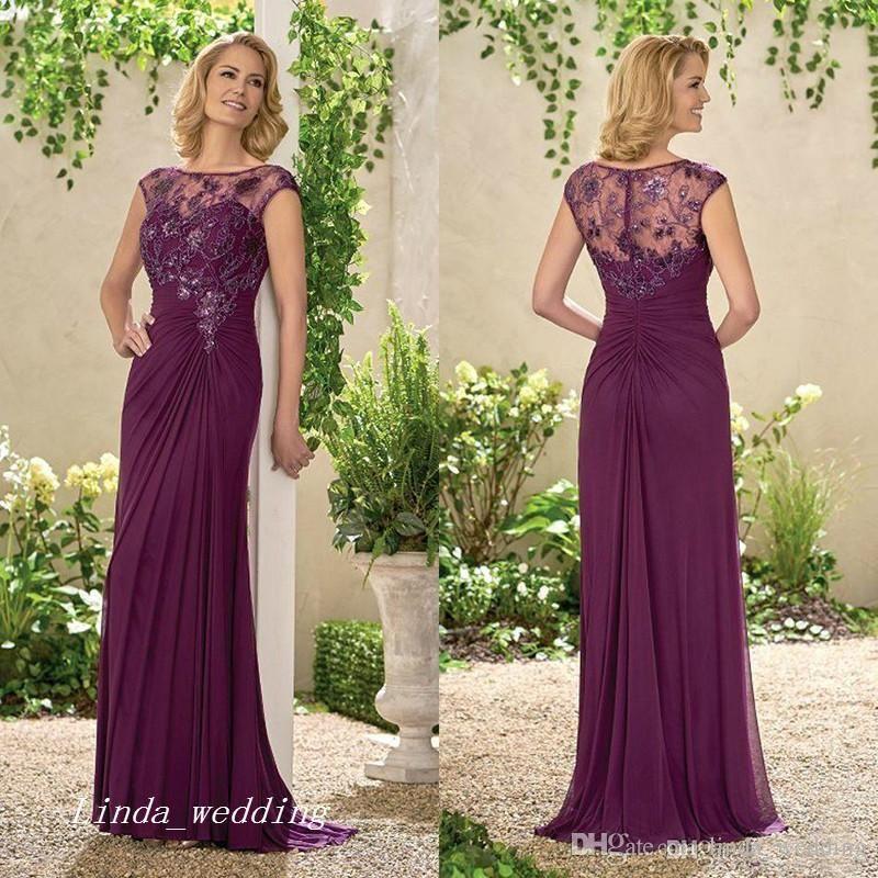 0f423f8f55d Elegant Plum Column Mother Of The Bride Dress Lace Applique Formal  Godmother Wedding Guest Party Gown Plus Size Vestido De Madrinha Plus Size  Mother Of The ...