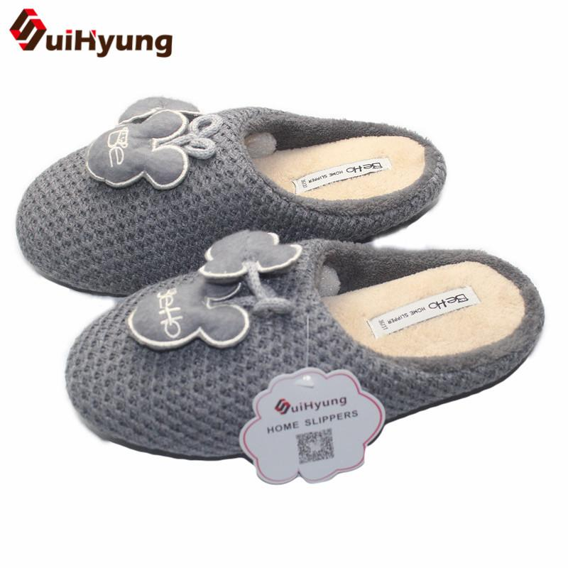 1af3b9669f0f Suihyung Winter New Women s Wool Knit Indoor Shoes Cute Bow Plush Warm Slippers  Soft Boom Non Slip Shoes Home Floor Slippers Slipper Socks Moccasins For ...