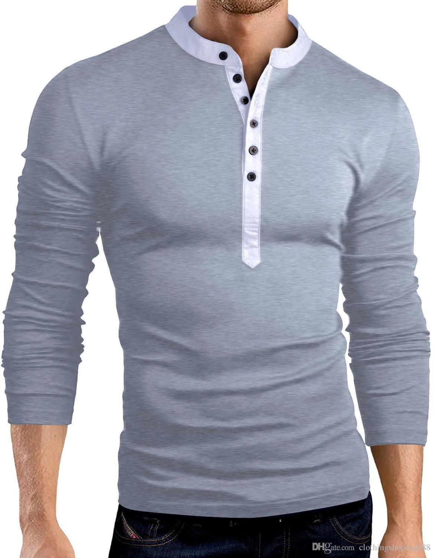Großhandel 2018 Mens T Shirt Einfarbig Mode V Ausschnitt Langarm