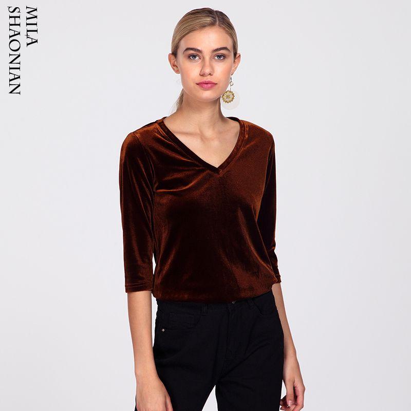 37d6c7149a8ecf Autumn Casual Half Sleeves Velvet T Shirts Women Solid Cotton V Neck Solid Black  Tshirt Soft Regular Tops Women Knitted Top Tees Tee Shirt Funny Tee Shirt  ...