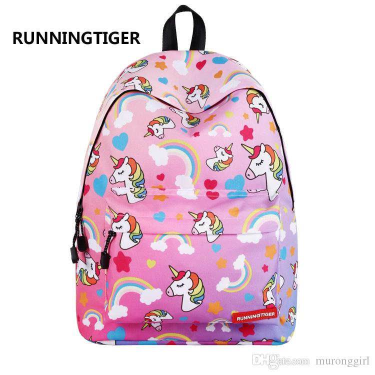 2018 New Backpack Primary And Middle School Students Unicorn Girls
