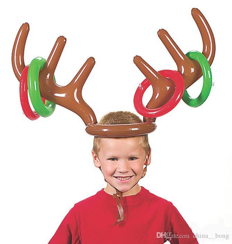 Gonfiabile Renna Cappello Di Natale Anello Antler Toss Festa di Compleanno Gioco Giocattoli Renna Antler Cappello Con Anelli Cappelli Rifornimenti Del Partito