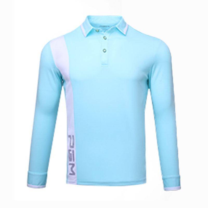 Men Long Sleeve Polo Shirt Breathable Moisture-wicking Wearable Turn ... b1dfadf8ef1