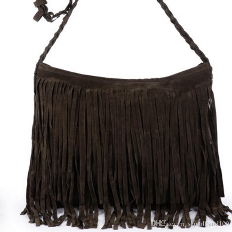 Art und Weise Frauen-Webart-Troddel-Schulter-Beutel-Kurier-Beutel Fringe Handtaschen Handtasche Umhängetasche Tasche für Mädchen mit Brown
