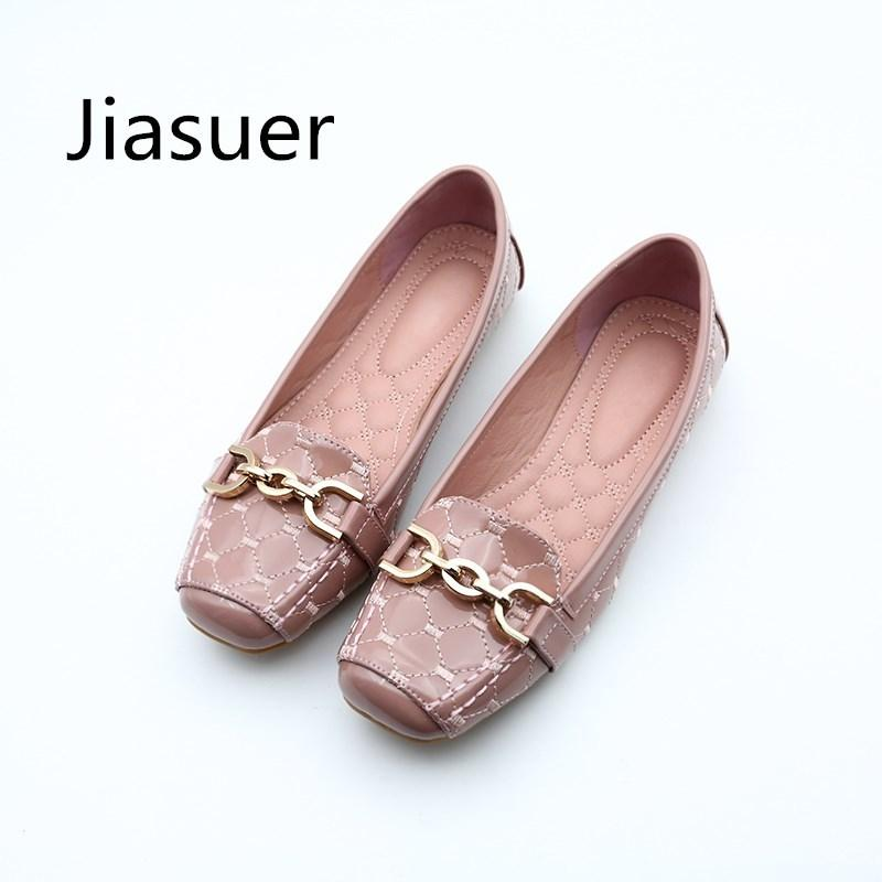 0aa974c546b6 2019 Casual Jiasuer Spring New Fashion Women Flat Shoes Patent Leather  Casual Metal Buckle Square Toe Boat Shoes For Office Ladies Oxford Shoes  Tennis Shoes ...
