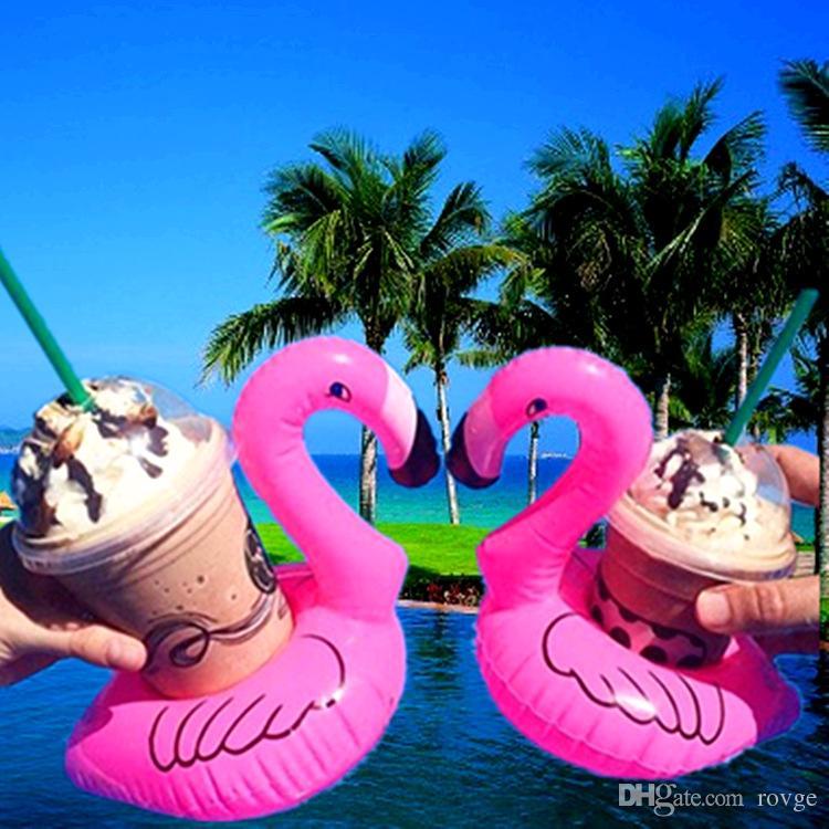 Supporto gonfiabile sveglio della tazza della spiaggia della tazza della tazza gonfiabile dell'arcobaleno del gabinetto gonfiabile dell'unicorno / fenicottero / noce di cocco
