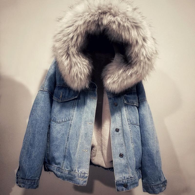 7e1b5426e062 Korean Winter Women Faux Fur Collar Fleece Hooded Jeans Jacket Women Lamb  Fur Cashmere Cowgirls Padded Denim Coat Jacket Down Jackets Womens Winter  Jackets ...