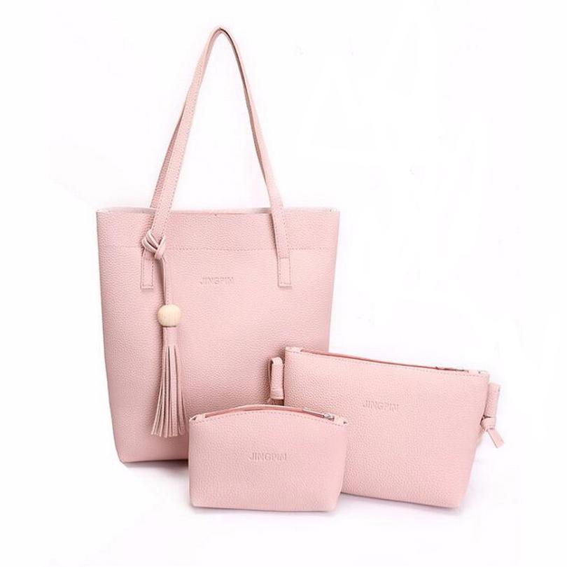 bb0be717e9 Korea Style 3psWomen S Casual Leather Tote Handbag Shoulder Bag Ladies  Messenger Crossbody Bag Composite Clutch Wallets School Bags Messenger Bags  From ...