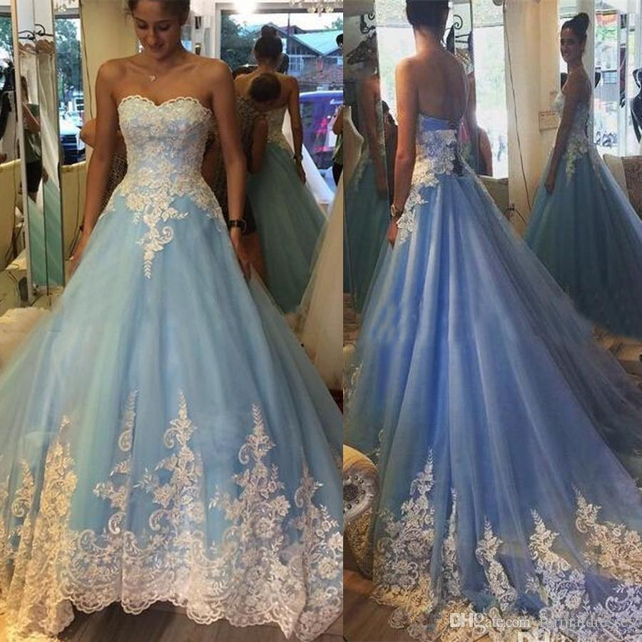 Sky Blue Prom Dress 2018 White Lace Applique Floor Length Ball Gown ...