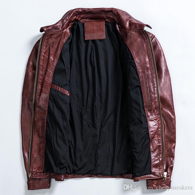 Nouvelle arrivée Mens Slim veste de moto vintage première couche de vêtements en cuir véritable manteaux moteur winered