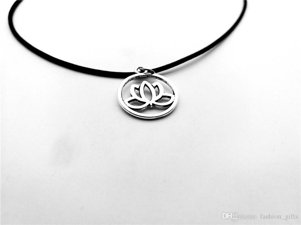 1pc-simple small hollow lotus pendant necklace round small Buddhist elements plant necklace leather rope antique silver female necklace