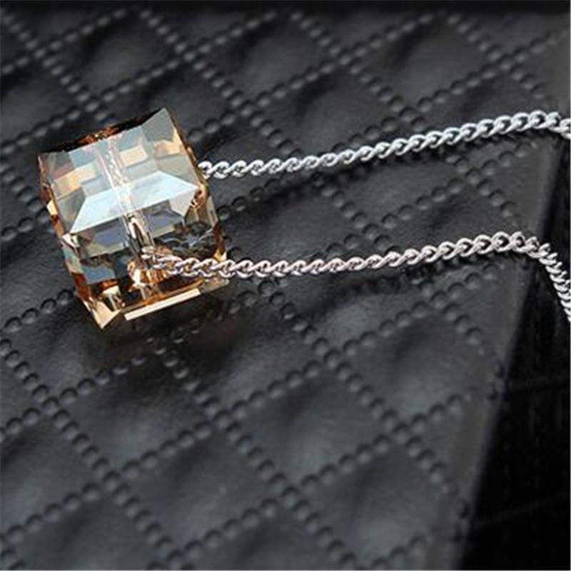 Schmuck Sets für Frauen Halskette Ohrringe geometrische Quadrat Kristall von Swarovski Elements hochwertige Luxus edelsten Zubehör