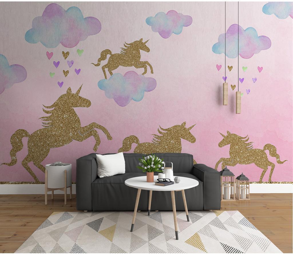 Cartoon Golden Unicorn Wall Stickers Diy Vinyl Cloud God Beast Wall