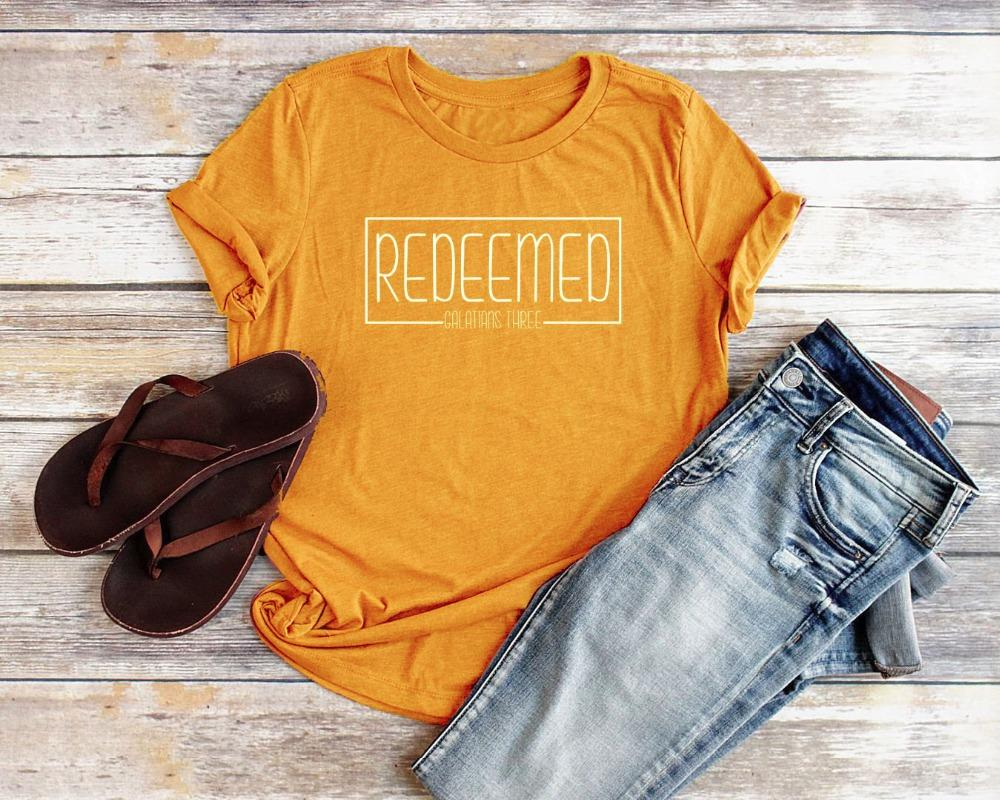 6985d52a958c Women's Tee Redeemed Christian T Shirts For Women Relaxed Fit Redeemed  Slogan Women Bible Verse Shirts Women Jesus Christian Tee Faith Top