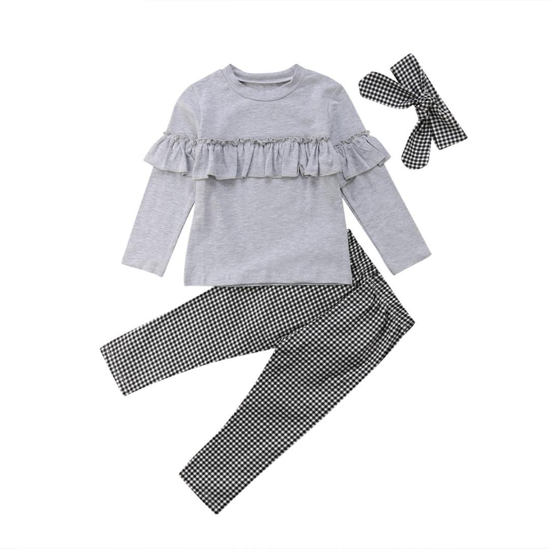 e7981754a 2019 Toddler Kids Baby Girl Outfits Ruffle Warm Long Sleeve Tops+Plaid Pants  Leggings Fashion Clothes From Bosiju, $20.97   DHgate.Com