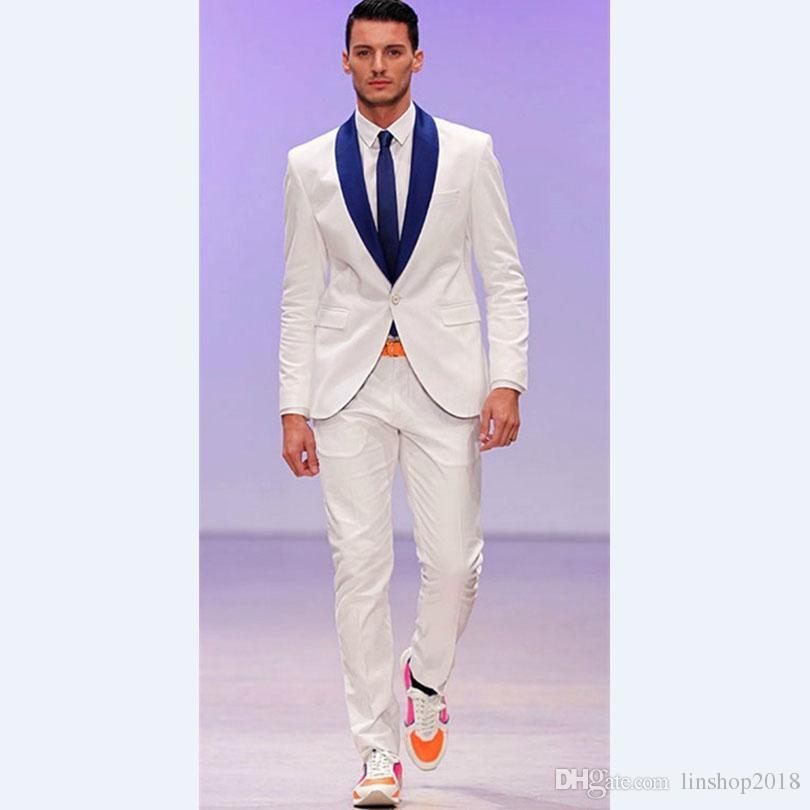 Custom Made Tailored Made Groomsmen Shawl Royal Blue Groom Tuxedos Ivory Men Suits Wedding Masculino VestidosJacket+Pants