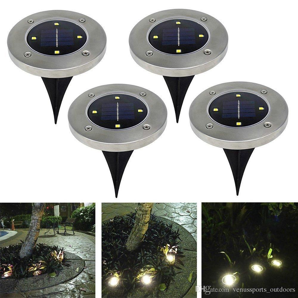 4 led Outdoor Disk Lights Solar Disk Lights Solar Powered Outdoor Portable Lanterns Hiking camping Garden Stair Lights
