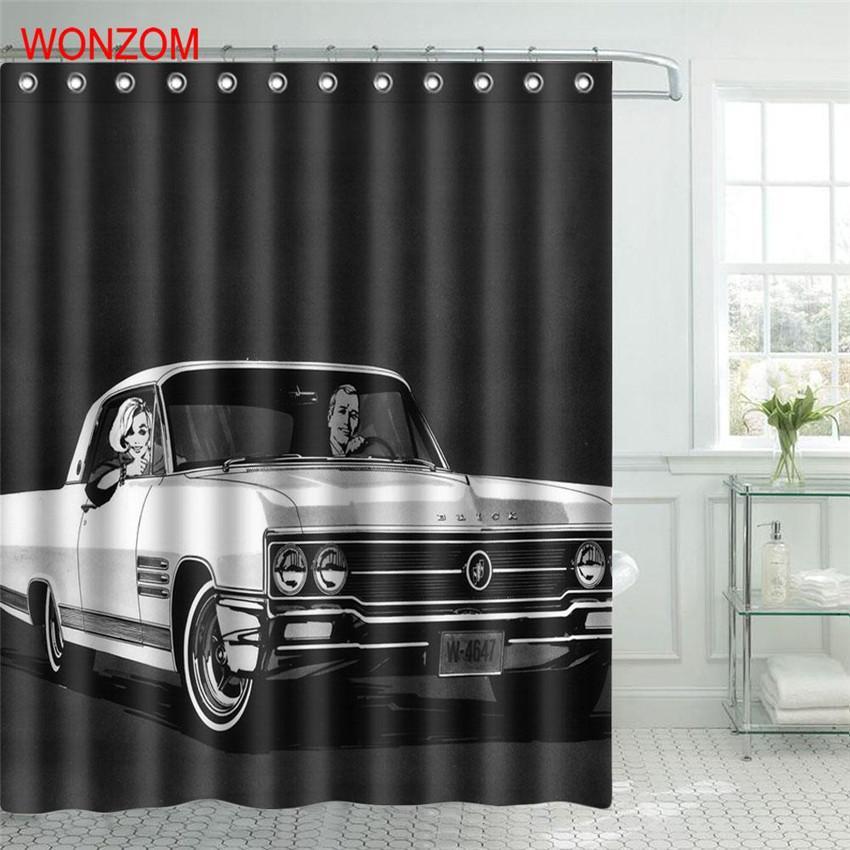 2019 WONZOM Car Waterproof Shower Curtain Bicycle Bathroom Decor Motorcycle Decoration Cortina De Bano 2017 Bath Gift From Dtanya 2259