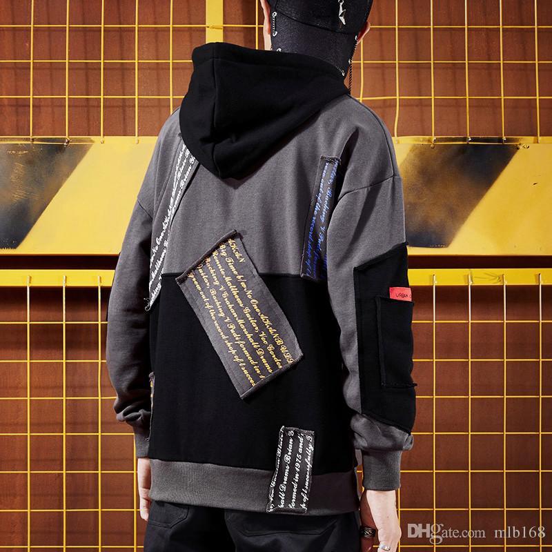 Hip hop super top brand oversize large size men's hoodies personalized  sticker student hooded sweatshirt