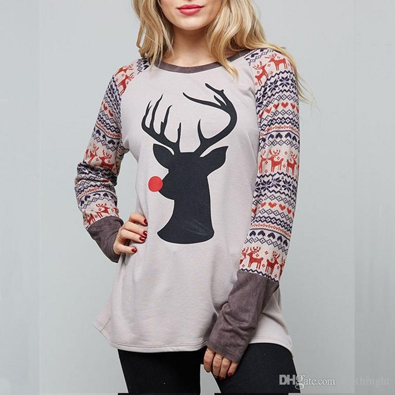 2018 new fantastic zone womens casual elk christmas holiday celebration long sleeve t shirt tunic tops novelty t shirt funny printed t shirts from