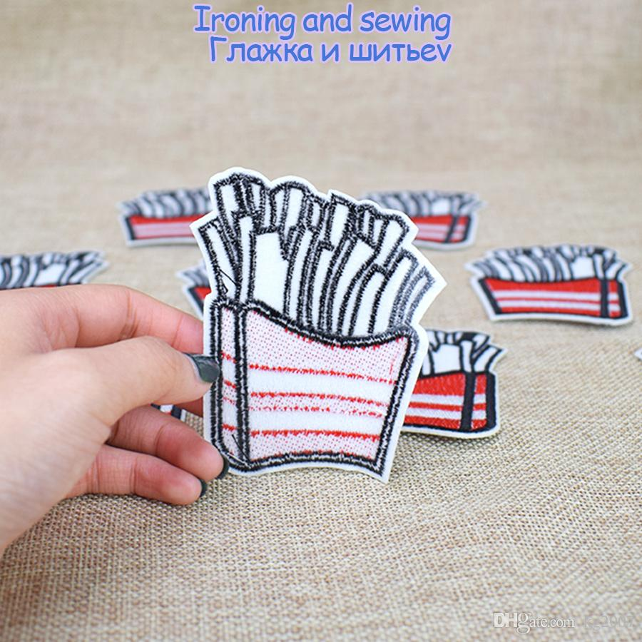 White Chips Embroidered Patches for Clothing Bags Iron on Transfer Applique Patch for Kids Jeans Sweater DIY Sew on Embroidery Patch