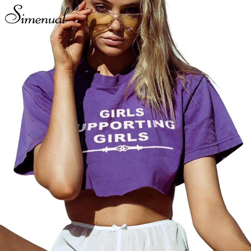 Simenual Fashion purple female t-shirt crop top summer women clothing 2018 letter loose women's t-shirts tops cropped tees sale
