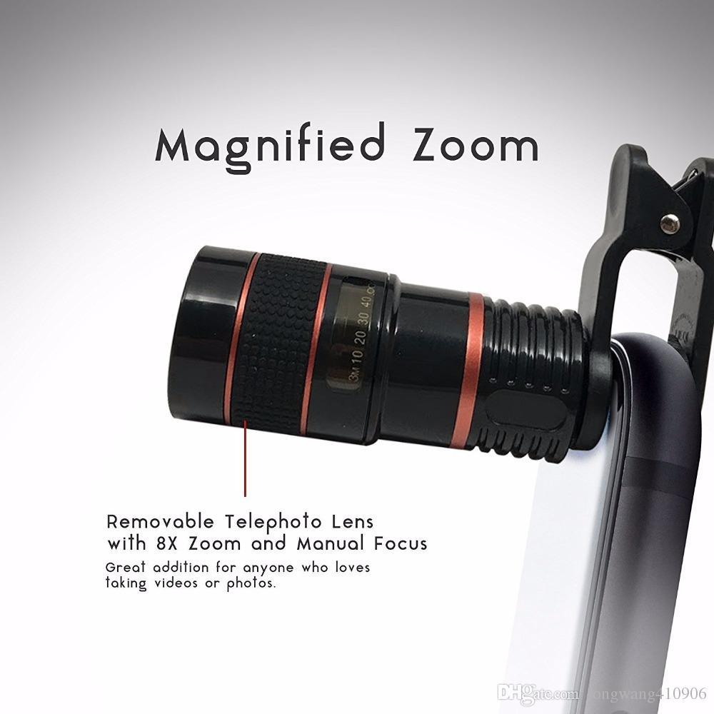 Teléfono celular universal Telescopio Teleobjetivo Lente de la cámara 8X Zoom Manual Focus Clip-on Lente de cámara para iPhone 7 8 más Samsung Galaxy S8