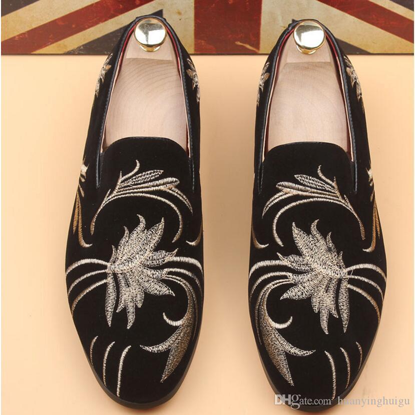 Продвижение новая весна мужчины бархат мокасины партии свадебные туфли Европа стиль вышитые Черный Бархат тапочки вождения мокасины AXX709