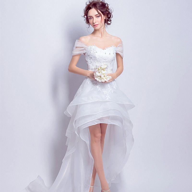 Vestido De Festa De Casamento Vestidos De Noiva Frente Curto Atrás Longo Lace Up Beading Vestido De Noiva Plus Size Vestidos De Noiva Vestido De Noiva