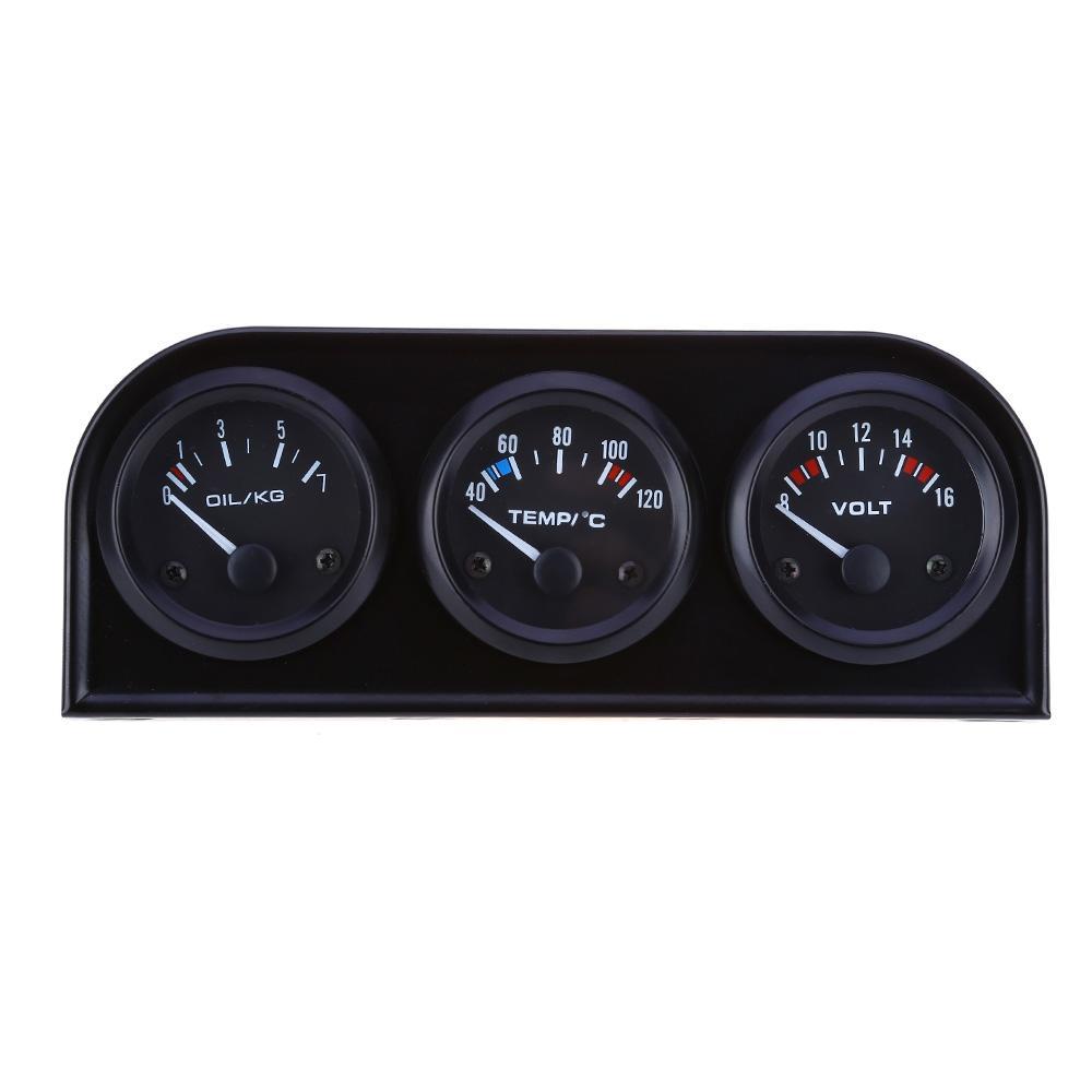 3in1 12V Indicador de temperatura del agua del coche 52MM Voltímetro del medidor de presión de aceite de carreras con sensor Kit triple Accesorio automático del calibrador electrónico NB
