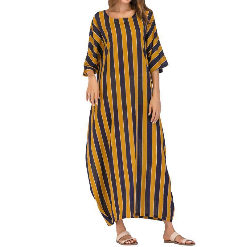 38dfcdd79 Acquista Vestito Da Donna Casual A Righe A 3/4 A Maniche Lunghe Elegante  2018 Vestito Lungo A Maniche Lunghe Da Sera Sexy Da Spiaggia Plus Size  18Jul24 A ...