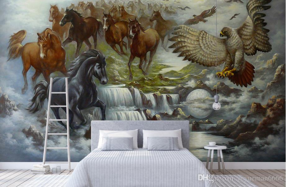 Custom European Painting horse 3D Wallpaper Painting Mural Background 3D Wallpaper Sofa TV Backdrop