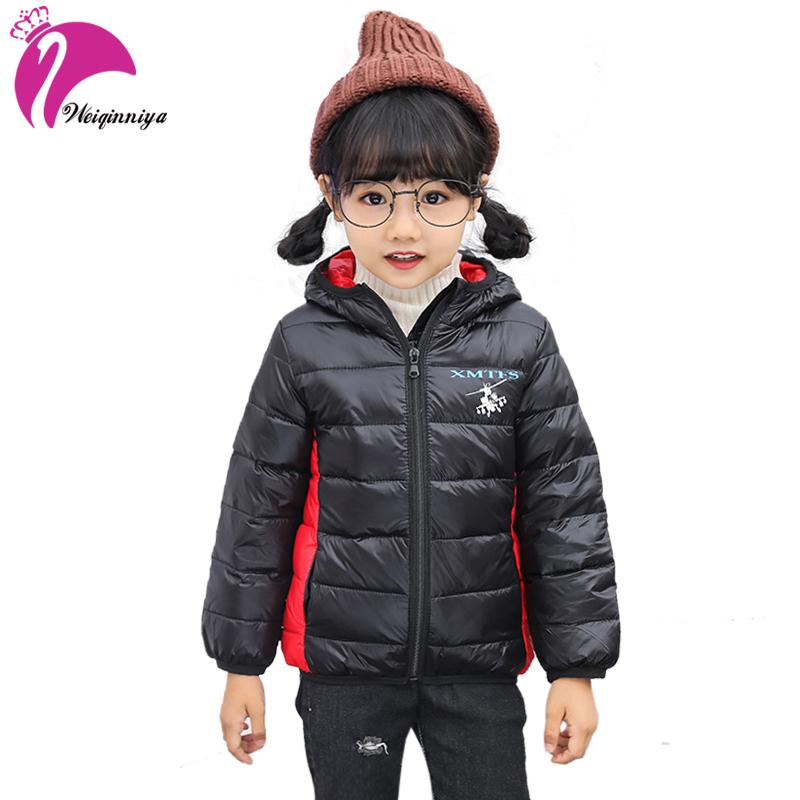 cfa3499c1 weiqinniya Girl Down Parkas Jackets Winter Windbreaker Jacket For Boy  Fashion Children Letter Hooded Jackets For Girl Thick Coat
