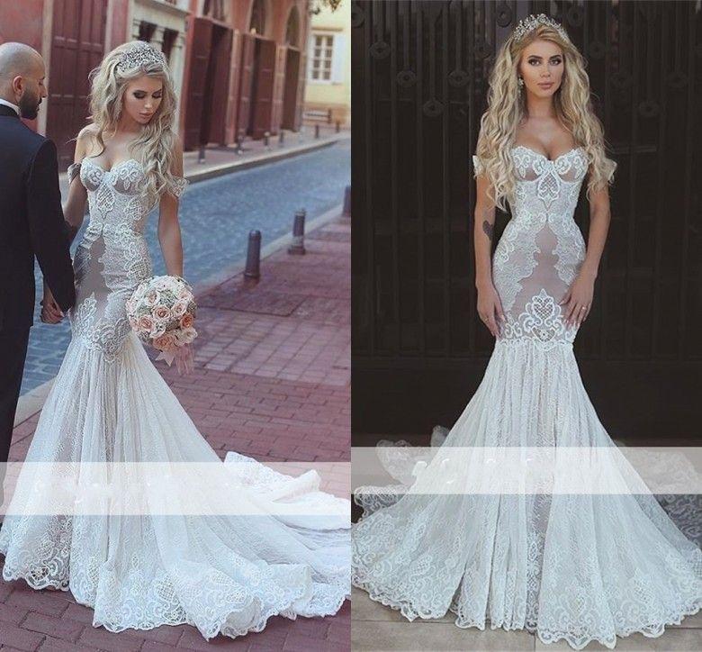 3c87a9f3935 Sexy Arabic Mermaid Lace Applique Wedding Dresses 2018 Off Shoulder Court  Train Backless Vintage Bridal Gowns Cheap V Neck Mermaid Wedding Dress  Wedding ...