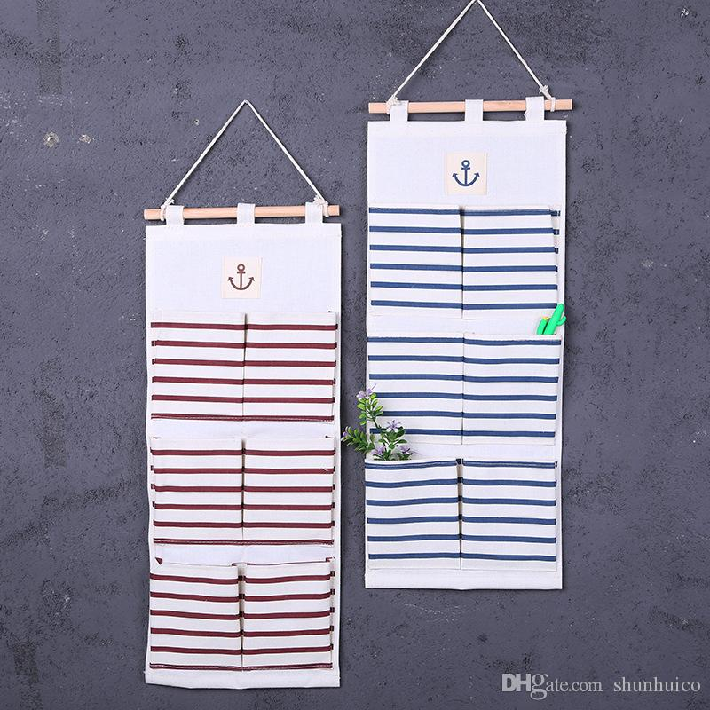 Wall Hanging Organizer Bags Cotton Linen Holder Storage Bag Door Hanging Sundry Sorting Bags 6 Pockets