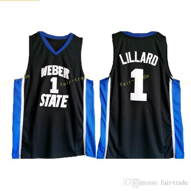 cheaper 2a8f3 73b52 Weber State 0 Damian Lillard Jersey University Black Color Men Basketball  Lillard College Jerseys Breathable For Sport Fans High Qualit
