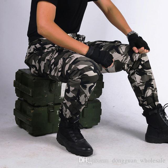 14cc69dc1f Pantaloni militari tattici Pantaloni militari dell esercito Maschio Forze  speciali Soldati Camouflage Tuta Abbigliamento Pantaloni larghi larghi 2019