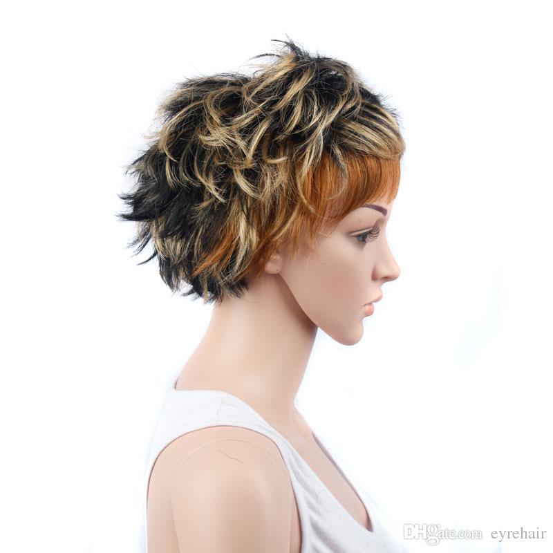 Short Bob Layered Mix Gold Color Synthetic Lace Front Wig Heat Resistant Soft for Women Full Hair Ship Free Large Stock