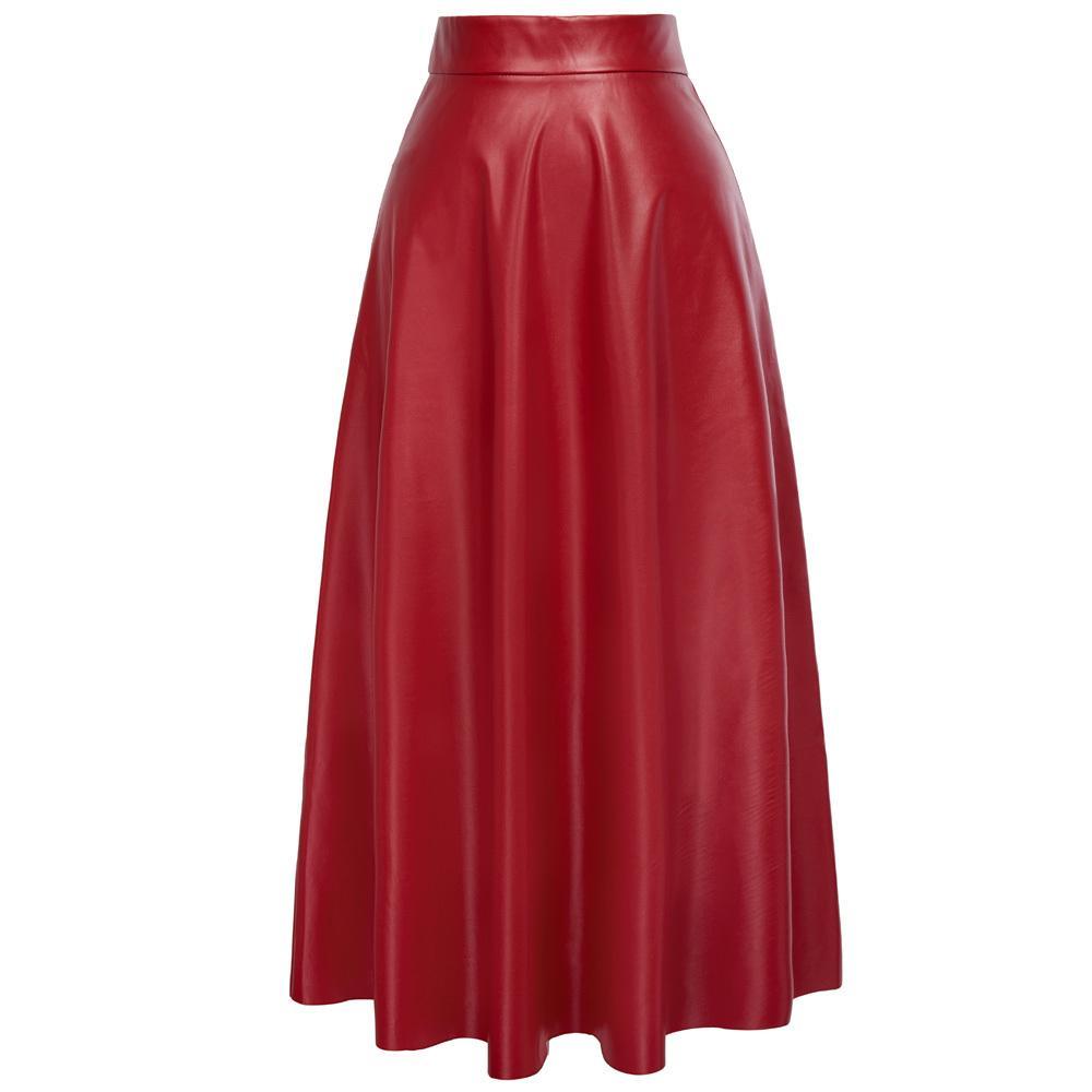 447641ca4 Kate Kasin Sexy cintura alta de cuero sintético para mujer faldas otoño  invierno 2018 mujeres falda larga rojo negro Vintage falda plisada C18111301
