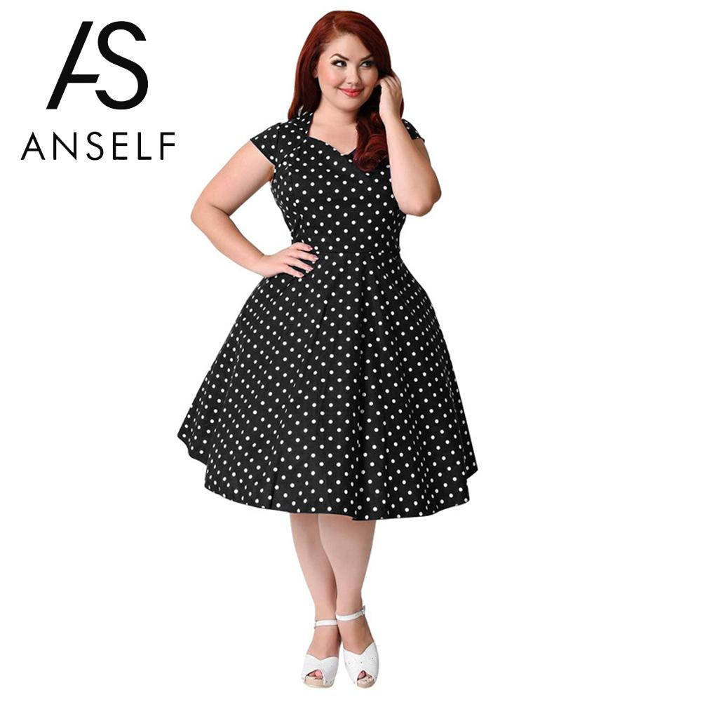 2019 3XL 9XL Women Plus Size Retro Polka Dot Dress 1950s 60s ...