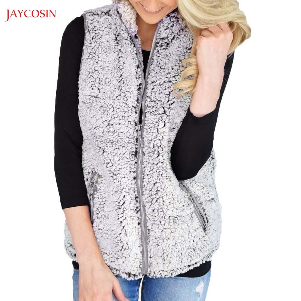 93e54a5c838 Jaycosin Clothes Girls Winter Warm Vest Lady Casual Faux Fur Zipper ...