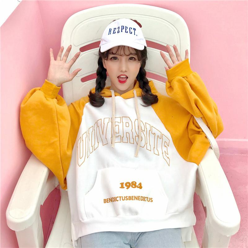Winter Korean Fashion Female Batwing Sleeve Sweatshirts Printing Letters Plus Cashmere Plus Thick Loose Women's Yellow Hoodies