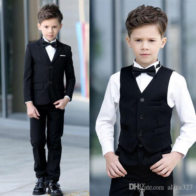 1dc80482455f Black Boy Fashion Slim Suit Dress Three Piece Suit Coat + Pants + Vest  Wedding Flower Girl Dress Children Birthday Party Formal Suit Kids Designer  Clothes ...