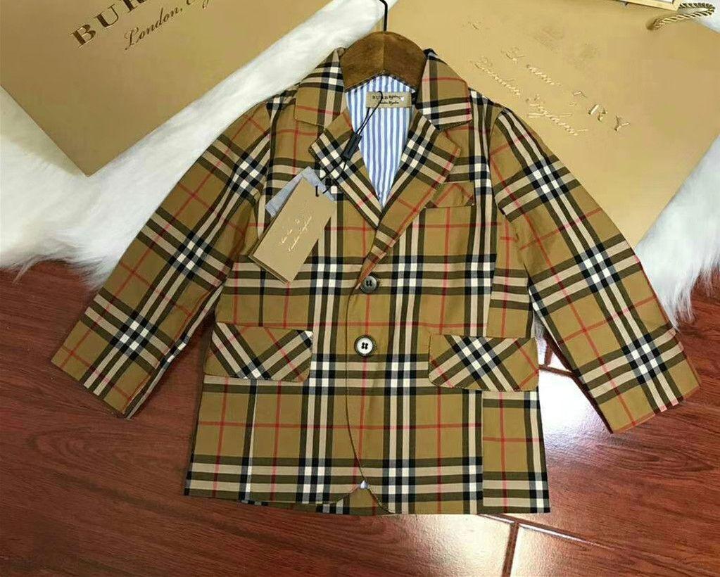 002a58495684 Hao 2018 Autumn Bursting Fashionable Baby Boy Blazer Plaid Long ...