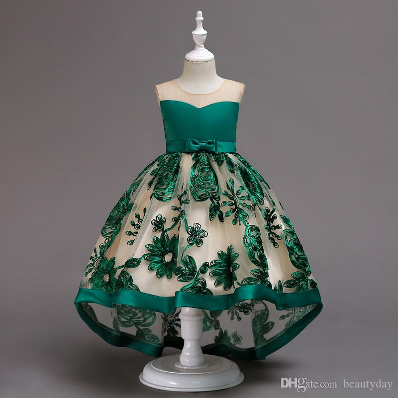 2019 Burgundy Lace Flower Girl Dresses Lovely Clothes With Big Bow Tutu Green Pink Navy blue Ball Gowns In Stock Cheap for Age 3~8