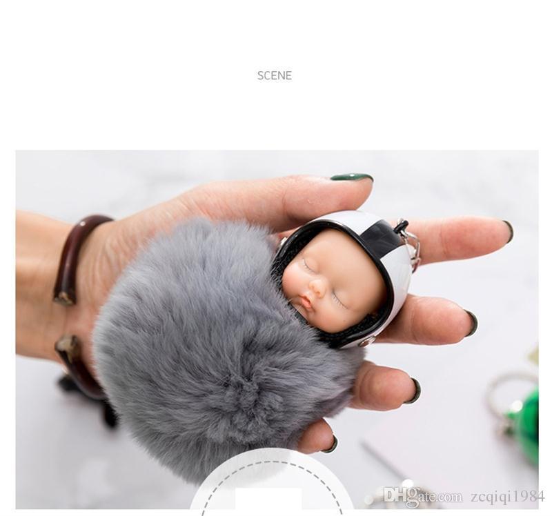 Fantasy New Fluffy Rabbit Fur Pompom Casco da moto Dormire Baby Portachiavi Donna Bambola di pelliccia Portachiavi auto Portachiavi giocattolo