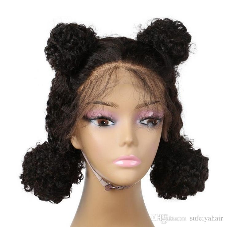 Human Virgin Remy Brazilian Soft Hair Lace Front Full Lace Kinky Curly Wigs 130% Desnity Natural Black Color For Women