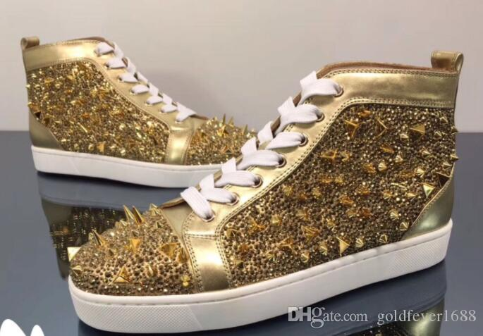 Gold Crystals Red Bottoms Shoes Fashion Rivets Spikes Studded