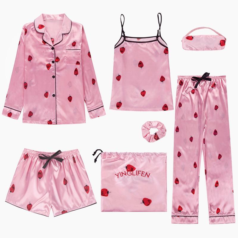 8d4da06e265cd0 Conjuntos de pijama das mulheres 7 peças Adorável Conjunto de pijama de  cetim de seda lingerie homewear sleepwear Morango rosa pijamas set pijamas  ...