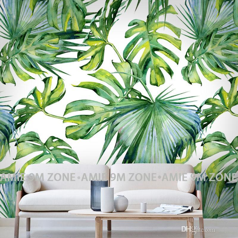 Wholesale Relief Light Green Leaf Wallpaper For Living Room Bedroom Mural Wall Papers 3d Desktop Background Home Decor Wallpapers The